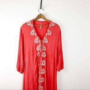 Trendology Dresses - Coral Embroidered Boho Maxi Beach Cover Up Dress